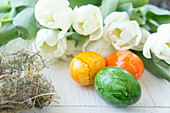 Painted Easter eggs and white tulips