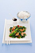 Stir fried spinach, sugar snap peas, and chicken (Asia)