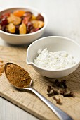 Spices, cream cheese and dried fruits