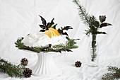 Pavlova mit Sahne, Zitronen und Orangen zu Weihnachten
