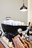 Coffee cups and bar utensils in Supersense, Vienna, Austria