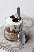 Yoghurt muesli with oats, chocolate and cherries