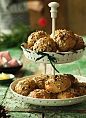 Muffins with nuts and raisins on a cake stand (Christmas)