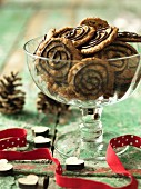 Quick orange biscuits with chocolate spiral for Christmas