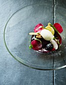 Sorbet with radishes and blackberries