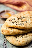 A stack of naan bread