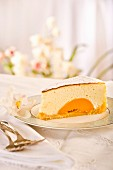 A slice of quark cake with apricots
