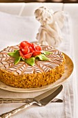 Esterhazytorte decorated with marzipan roses
