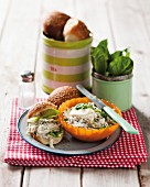Chicken salad with mayonnaise and watercress in sesame seed buns