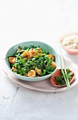 Green wok vegetables with prawns