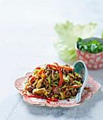 Mongolian minced beef stir-fry with vegetables