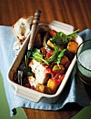 Oven-baked ratatouille with feta