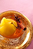 Poached pears in a spicy syrup