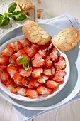 Strawberry carpaccio with almond tuiles
