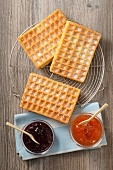 Waffles and jam