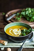 Cream of carrot soup with coriander
