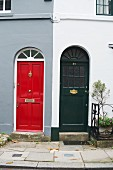 Two brightly coloured front doors in Chelsea, London, England