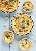 Watercress tarts with artichokes and blue cheese