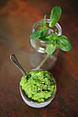 Pea & rosemary sorbet with fresh mint