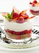 Raspberry and nectarine cheesecake in a glass