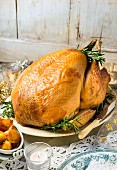 Roast turkey with rosemary for Christmas dinner