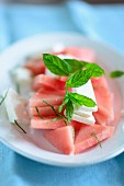 Watermelon with feta cheese and mint