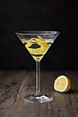 A Martini with lemon zest