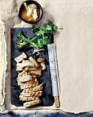 Chicken breast with king trumpet mushrooms and a spicy ginger sauce