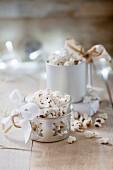 Christmas popcorn with icing sugar and cinnamon
