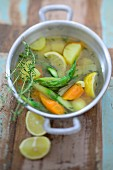 Vegetable stew with lemon and thyme