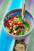 Bulgur and vegetable salad with diced tofu