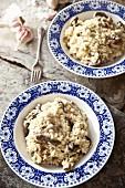 Mushroom risotto with garlic
