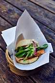 Salmon burger with spinach