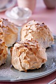 Brioche with meringue and flaked almonds