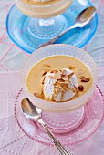 A floating island with meringue and flaked almonds