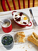 Eggs cocotte with a beetroot salad