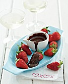 Strawberries with a chocolate dip