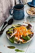 Carrot and rocket salad with sunflower seeds