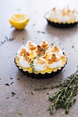 A lemon tartlet with thyme