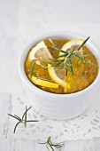 A bowl of lemon and rosemary marmalade