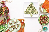 Reindeer wedges, Christmas tree wraps, Tomato baubles