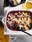 Blueberry cobbler with ice-cream