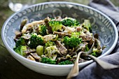 Pizzoccheri ai broccoletti (buckwheat pasta with broccoli, Italy)