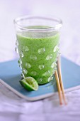 A basil smoothie with lime