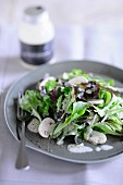 A mixed leaf salad with mushrooms and a yoghurt dressing