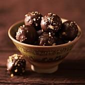 Chocolate Truffles on a Pedestal Dish