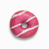 A pink strawberry doughnut filled with strawberry jam