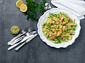 Risoni salad with salmon and avocado