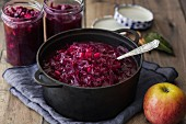 Apple red cabbage in a pot