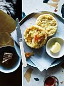 Süsse Brötchen mit Butter und Honig